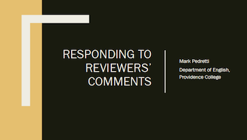 Responding to Reviewers Comments