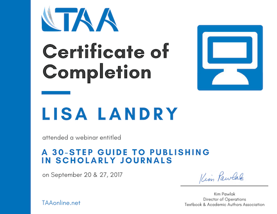 TAA webinar certificate of completion